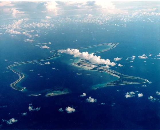 미군 공군기지가 들어서 있는 차고스 제도의 디에고 가르시아섬 [위키피디아]