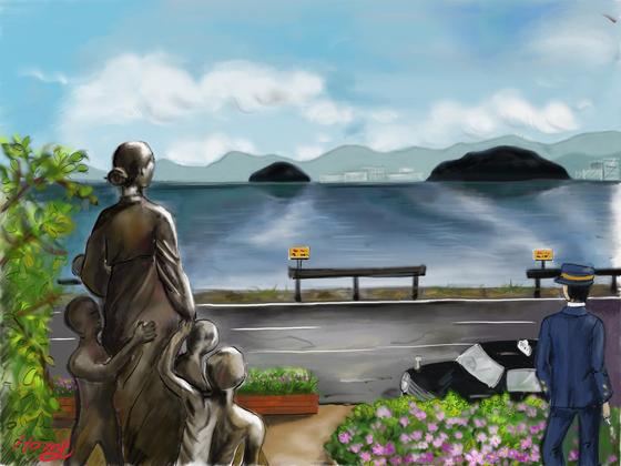 우키시마호의 비극이 잠들어 있는 마이즈루 바다의 추모공원. by 갤럭시탭S3 아트 레이지 사용. [사진 홍미옥]