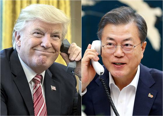 도널드 트럼프 미국 대통령(왼쪽)과 문재인 대통령. [연합뉴스]