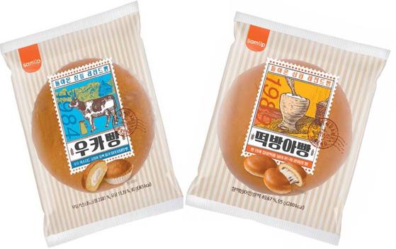 SPC삼립은 1980년대에 출시했다가 단종된 '우카빵'과 '떡방아빵'을 지난 12일 다시 선보였다. 80년대 히트 제품에 현대적 감성을 반영한 제품이다. [사진 SPC삼립]