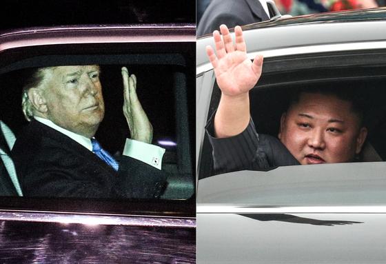 제2차 북·미 정상회담을 하루 앞둔 26일(현지시간) 김정은 북한 국무위원장(오른쪽)이 특별열차편으로 베트남 랑선성 동당역에 도착, 도널드 트럼프 미국 대통령은 전용기를 이용해 베트남 하노이 노이바이 공항에 도착하고 있다. 북·미 정상은 27일(현지시간) 저녁 단독 회동을 갖고 만찬을 함께 할 예정이다. [뉴스1]