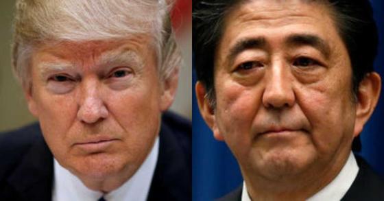 도널드 트럼프 미국 대통령(왼쪽)과 아베 신조 일본 총리. [로이터=뉴스1]