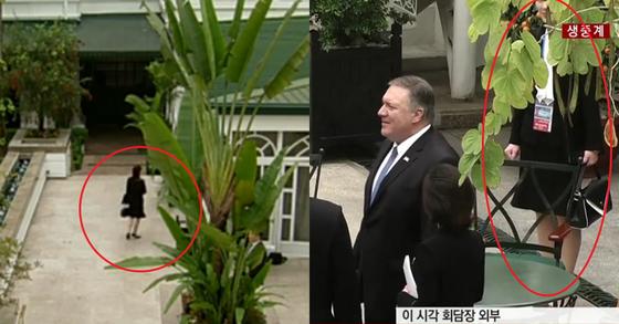 단독회담 동안 회담장 밖에서 서성이는 김여정 부부장(왼쪽)과 확대회담 전 중앙정원에서 포착된 김 부부장. [JTBC, YTN 캡처]
