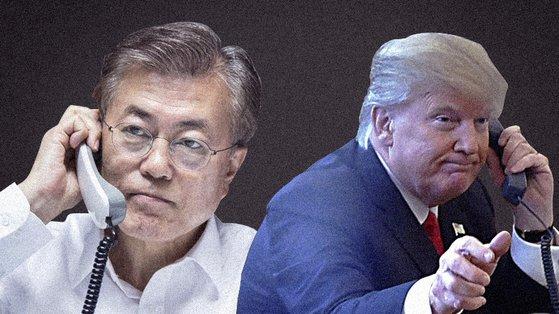문재인 대통령(왼쪽)과 도널드 트럼프 미국 대통령. [뉴스1]