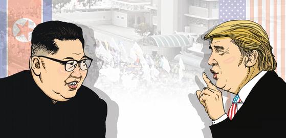 베트남 하노이에서 27~28일 열리는 2차 북·미 정상회담에서 담판할 김정은과 트럼프. [김회룡 화백]
