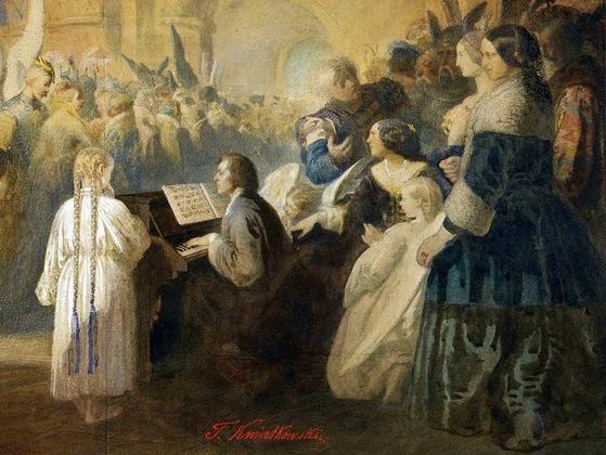 무도회에서 연주하는 쇼팽. 테오필 크비아코브스 그림, '쇼팽의 폴로네이드'의 일부. 포즈난 국립미술관 소장. [사진 Wikimedia Commons(Public Domain)]