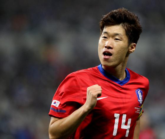2010년 5월에 열린 일본과의 평가전에서 선제골을 넣고 세리머니를 펼치는 박지성. [일간스포츠]