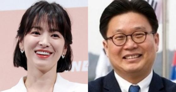 송혜교 배우와 서경덕 교수 [연합뉴스, 중앙포토]