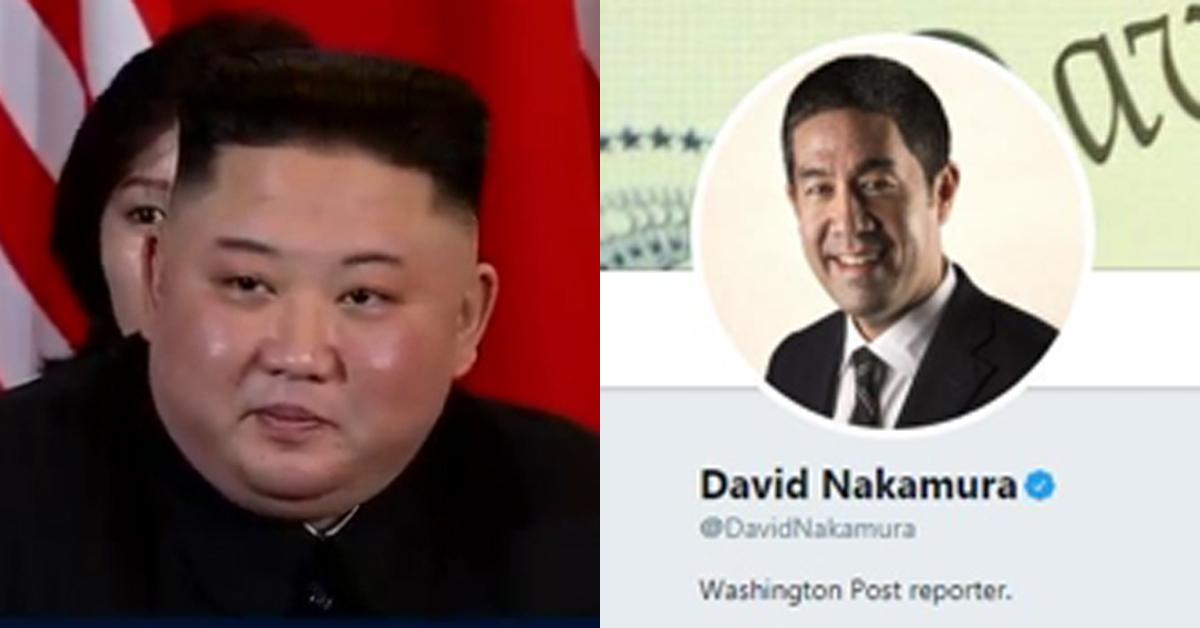외신기자로 사상 처음으로 김정은 북한국무위원장(왼쪽)의 답변을 이끌어낸 워싱턴포스트의 데이비드 나카무라 기자. [JTBC, 나카무라 트위터 캡처]