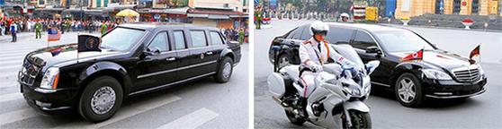 지난달 28일 회담 결렬 뒤 트럼프 미 대통령(왼쪽 사진)과 김정은 북한 국무위원장이 탄 차량이 회담장을 나오고 있다. [하노이 AP·EPA=연합뉴스]