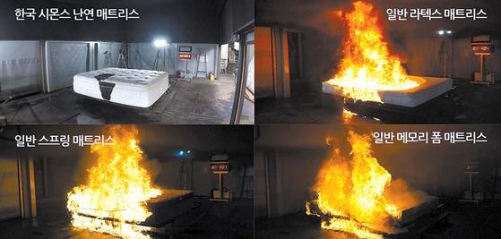 한국 시몬스의 난연 매트리스와 일반 매트리스의 실물 규모 화재 시험 장면. 한국 시몬스의 난연 매트리스가 일반 매트리스나 라텍스 제품에 비해 훨씬 더 불이 잘 붙지 않는 모습을 보여준다. [사진 시몬스 침대]