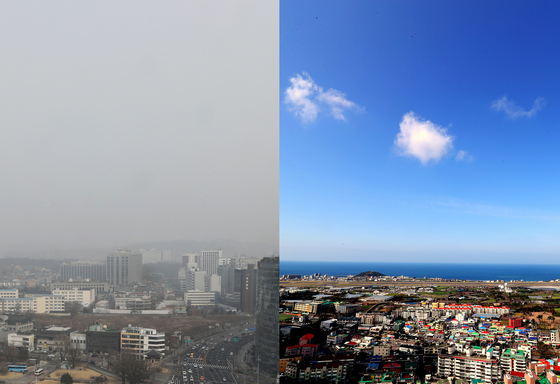 수도권에 사상 처음 엿새 연속 비상저감조치가 발령된 6일 오전 서울 도심(왼쪽)이 희뿌옇게 보이고 있다. 오른쪽은 미세먼지 농도가 '좋음' 수준을 보인 제주시 하늘 모습. [뉴스1]