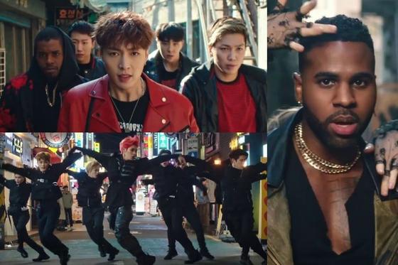 '렛츠 셧업 앤 댄스' 뮤직비디오에 나오는 엑소의 레이(왼쪽 위), NCT 127(왼쪽 아래), 제이슨 데룰로(오른쪽). [유튜브 캡처]