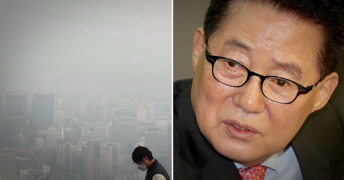 박지원 민주평화당 의원(오른쪽)이 정부의 미세먼지 대책에 대해 '소 잃고 외양간 고친다'고 비판했다. [중앙포토, 연합뉴스]