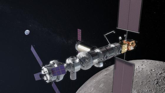 2025년 기본체가 발사, 완공예정인 차세대 국제우주정거장 '달 궤도 플랫폼 게이트웨이'의 조감도. 한국은 지난해 12월, 서신을 통해 이 사업에 참여하겠다는 의사를 밝혔다. [사진 미국항공우주국(NASA)]