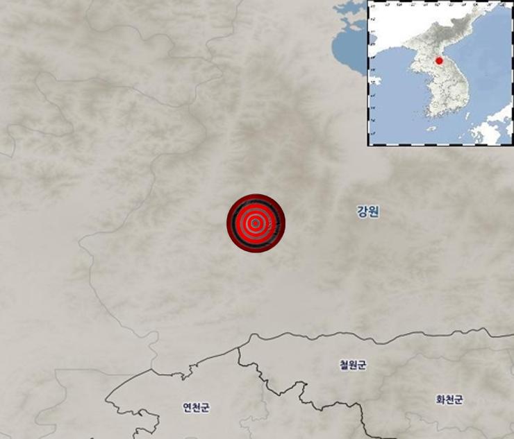 북한에서 7일 '광산 발파'로 추정되는 소규모 인공지진이 발생했다. [사진 기상청]