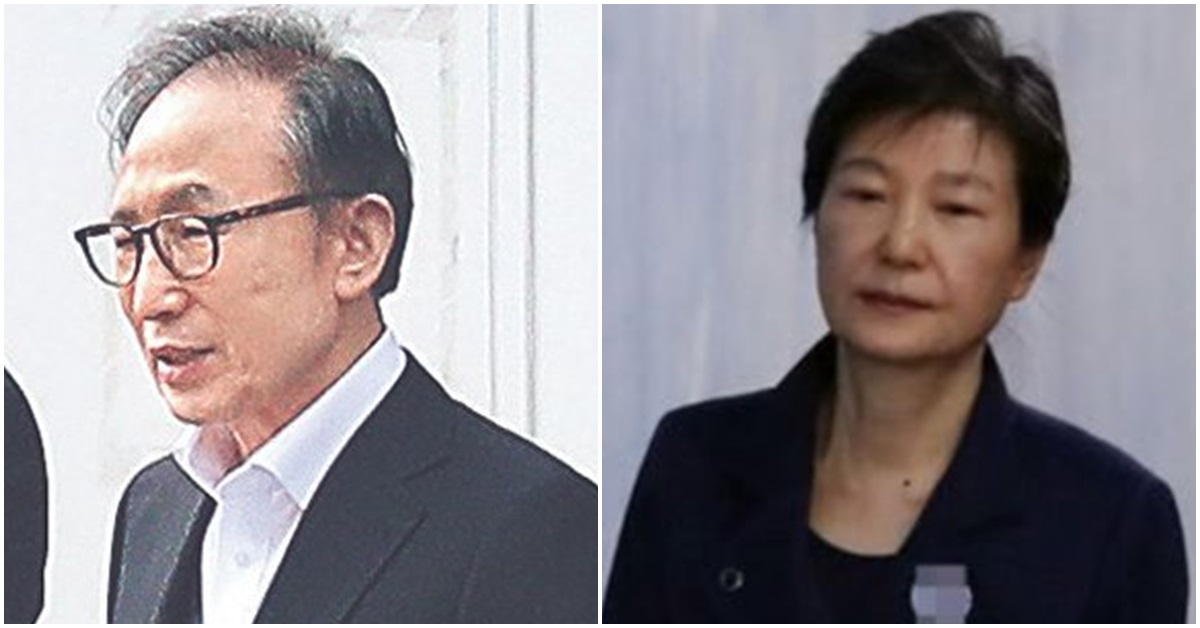 이명박 전 대통령이 6일 오후 동부구치소를 나서고 있다(왼쪽). 박근혜 대통령. [사진 중앙포토·연합뉴스]