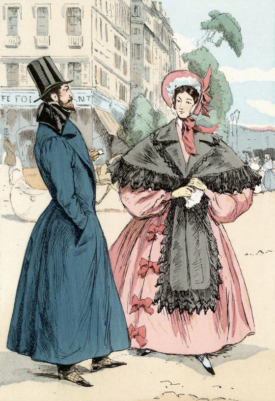 1833년의 이탈리엥 대로의 모퉁이(A Corner on the Boulevard des Italiens. Francois Courboin 그림. 1898. 미국 브라운 대학교 도서관 소장). [그림 Wikimedia Commons(Public Domain)]