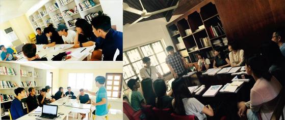 보통사람을 위한 영어 글로벌프로젝트 '보글리쉬' 커뮤니티 모습(좌)과 필리핀 현지 교민들을 위한 무료 영어교육 봉사 모습(우). [사진 이승범]