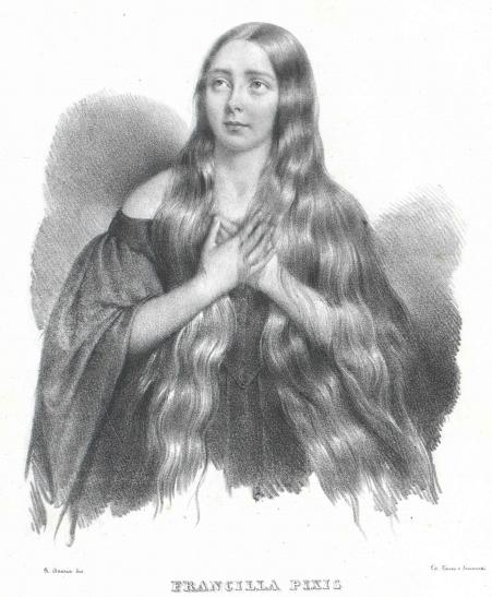 프란실라 픽시스(Francilla Pixis). 원래 이름은 Franziska Gohringer. 고아였던 그녀를 픽시스가 입양하여 가수로 키웠다. 그녀는 1843년 한 시칠리아 귀족의 아내가 되었고, 두 사람의 아들은 이탈리아 상원의원을 지냈다. 오스트리아 국립 도서관 소장. [그림 오스트리아 국립 도서관(Austrian National Library)]
