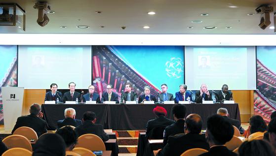 지난달 27일 통일 한반도 비전을 주제로 '글로벌 피스 컨벤션(GPC)'이 열렸다. [중앙포토]