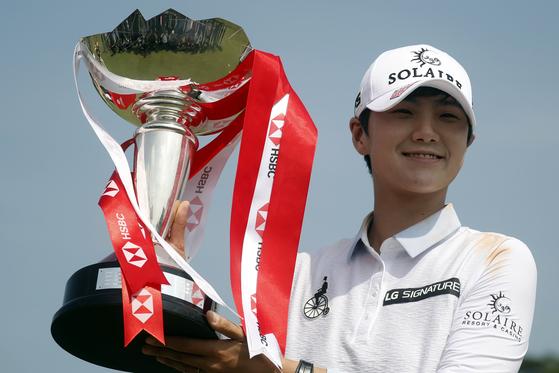 지난 3일 싱가포르에서 끝난 미국여자프로골프(LPGA) 투어 HSBC 월드 챔피언십에서 우승한 박성현. [EPA=연합뉴스]