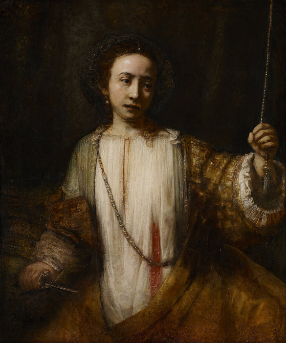렘브란트 반 라인, 루크레티아, 캔버스에 유채, 1666, 110cm x 92cm, Minneapolis Institute of Art. [출처 Wikipedia]
