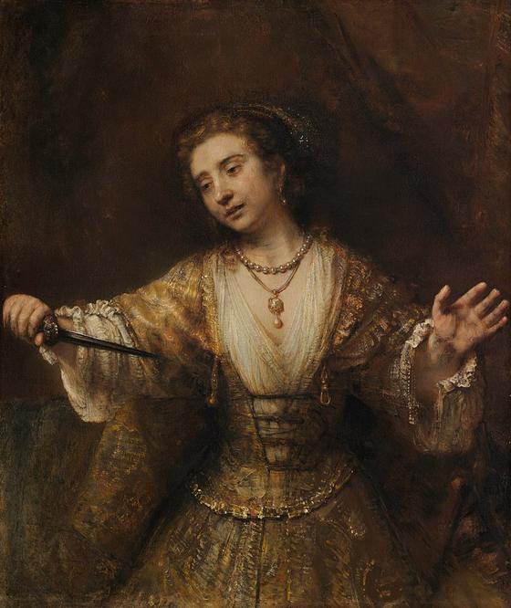 렘브란트 반 라인, 루크레티아, 캔버스에 유채, 1664, 120cm x 101cm, National Gallery of Art, Washington D.C. [출처 Wikipedia]