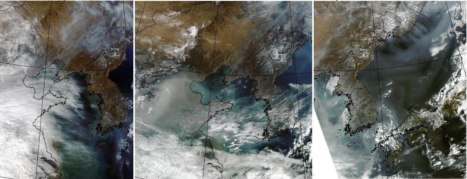 미 항공우주국 테라/아쿠아 위성 사진. 왼쪽부터 2월 26일, 2월 28일, 3월 1일 사진이다. 26일 한반도 상공은 중국과 달리 맑았지만, 28일부터 중국 오염물질이 들어오면서 1일에는 서해와 한반도 서쪽이 스모그로 뒤덮여 있다. [사진 기상청 홈페이지]