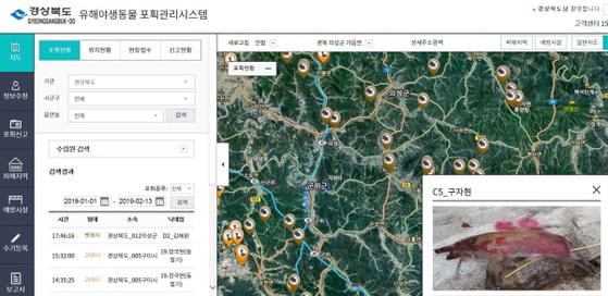 경북도가 운영 중인 야생동물 포획관리 시스템 화면. [사진 경북도]