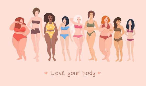 '자기 몸 긍정주의'는 몸무게나 체형에 관계없이 자신의 몸을 있는 그대로 사랑하는 것을 의미한다. [Body Positivity]