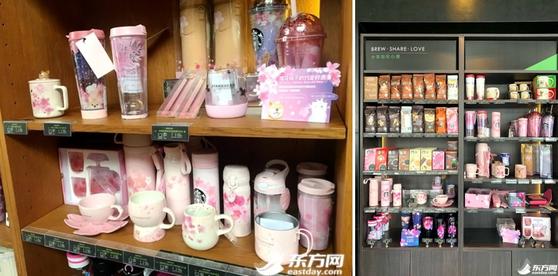 중국 스타벅스 벚꽃 에디션(왼쪽) [사진 둥팡왕]