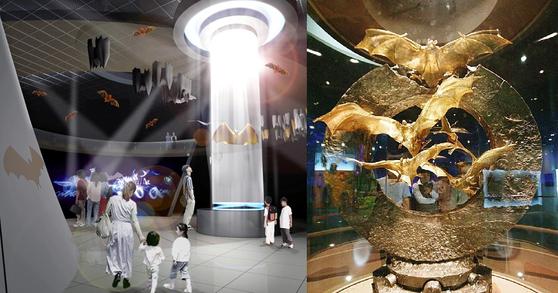 전남 함평군이 2005년 제작 당시 공개한 황금박쥐 순금 조형물 조감도(좌)와 실제 황금박쥐 동상(우). [연합뉴스] [뉴시스]