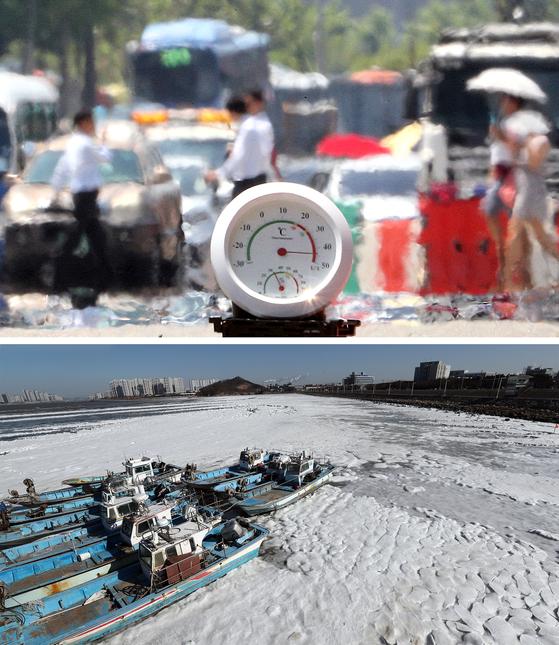 2018년 여름과 겨울은 한반도의 더위와 추위가 극한으로 치달았다. 서울이 40도에 육박하는 더위를 기록했고(위), 냉동고 추위에 바다가 얼어붙기도 했다(아래).[중앙포토]
