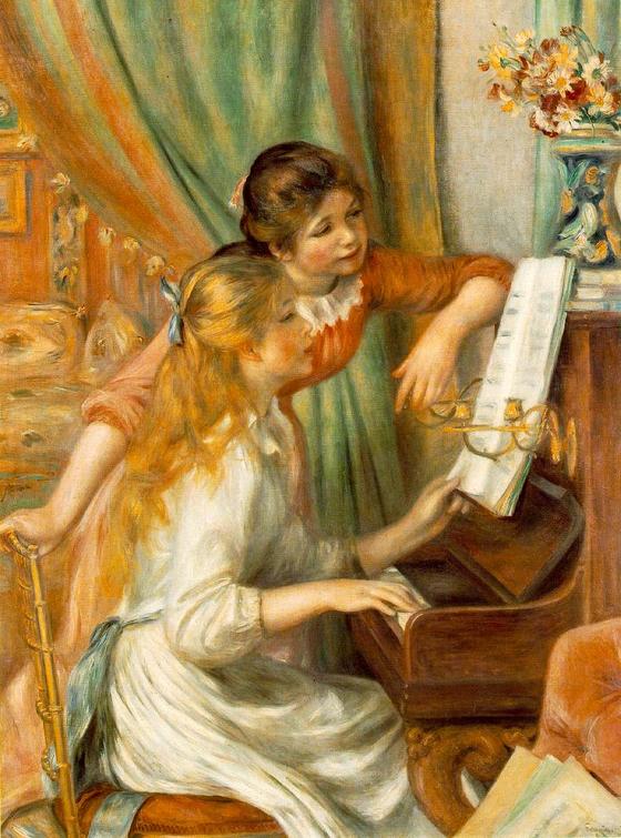 피아노 치는 소녀들. 르누아르 그림. 19세기 말. 오르세 미술관 소장. [그림 Wikimedia Commons(Public Domain)]