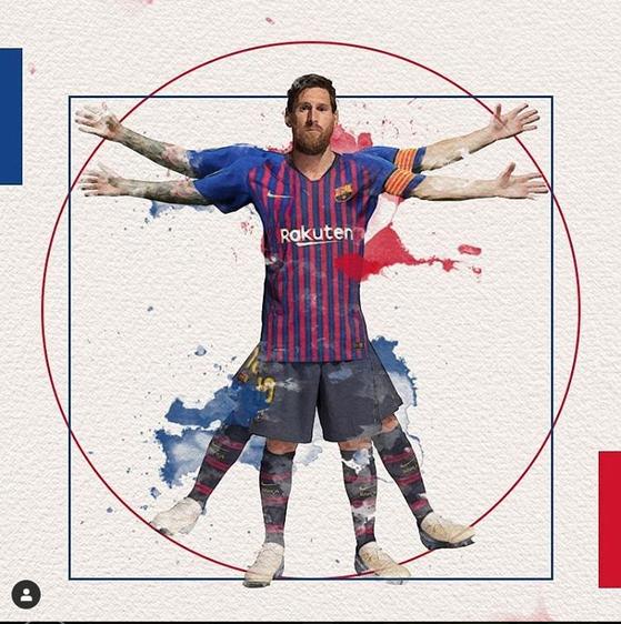 바르셀로나 인스타그램은 메시에게 축구의 예술, 완벽이라고 찬사를 보냈다. [바르셀로나 인스타그램]
