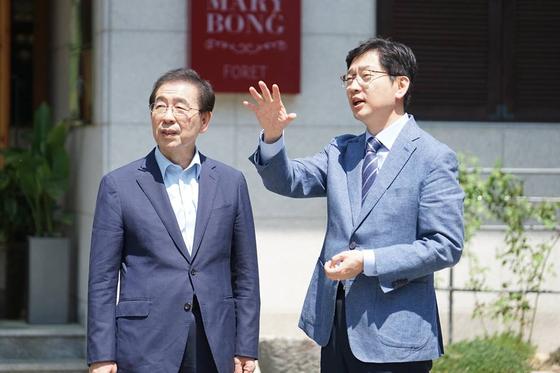 박원순 서울시장(왼쪽)과 김경수 경남도지사. [연합뉴스]