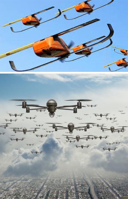 페르딕스 마이크로 드론(Perdix micro-drones)의 모습(위)와 영화 '스타트렉 비욘드'에 등장한 벌떼(swarming) 드론 공격 장면(아래). [영화 홈페이지]