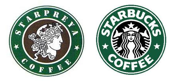'스타프레야' 로고(좌)와 '스타벅스' 로고(우). 스타벅스는 스타프레야를 상대로 한 상표권 분쟁에서 패소했다. [중앙포토]