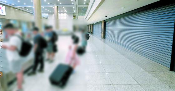 인천공항엔 18년간 열리지 않은 문이 있다!   (영종도=연합뉴스) 한상균 기자 = 14일 오후 인천공항 제1터미널 입국장에서 승객들이 짐을 찾고 있다.   그 뒤로 셔터가 내려진 면세점 예정 공간이 보인다. 이곳은 2001년 개항 때부터 입국장 면세점 예정 공간이었으나 기내면세점 운영 대형항공사와 출국장 면세점 운영 대기업 등의 반대로 도입되지 않았다. 1터미널의 경우 동편과 서편 두 곳에 입국장 면세점 공간이 있다. 2018.8.14   xyz@yna.co.kr/2018-08-14 15:29:27/ <저작권자 ⓒ 1980-2018 ㈜연합뉴스. 무단 전재 재배포 금지.>