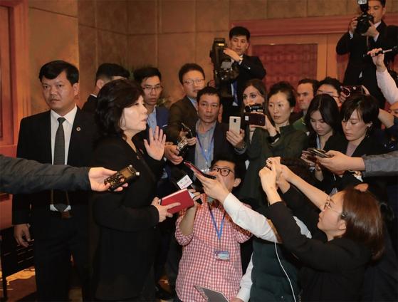 북한은 지난 3월 1일 새벽(현지시간) 베트남 하노이 멜리아호텔에서 기자회견을 열고 북·미 2차 정상회담이 결렬된 데 대한 입장을 밝혔다. / 사진:연합뉴스