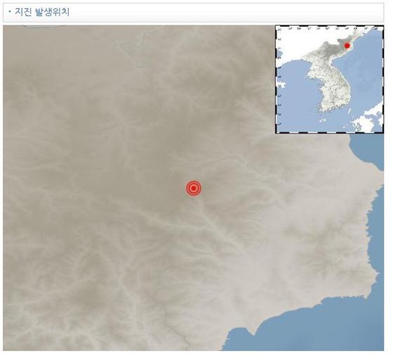 북한지진 발생지점. [자료 기상청]