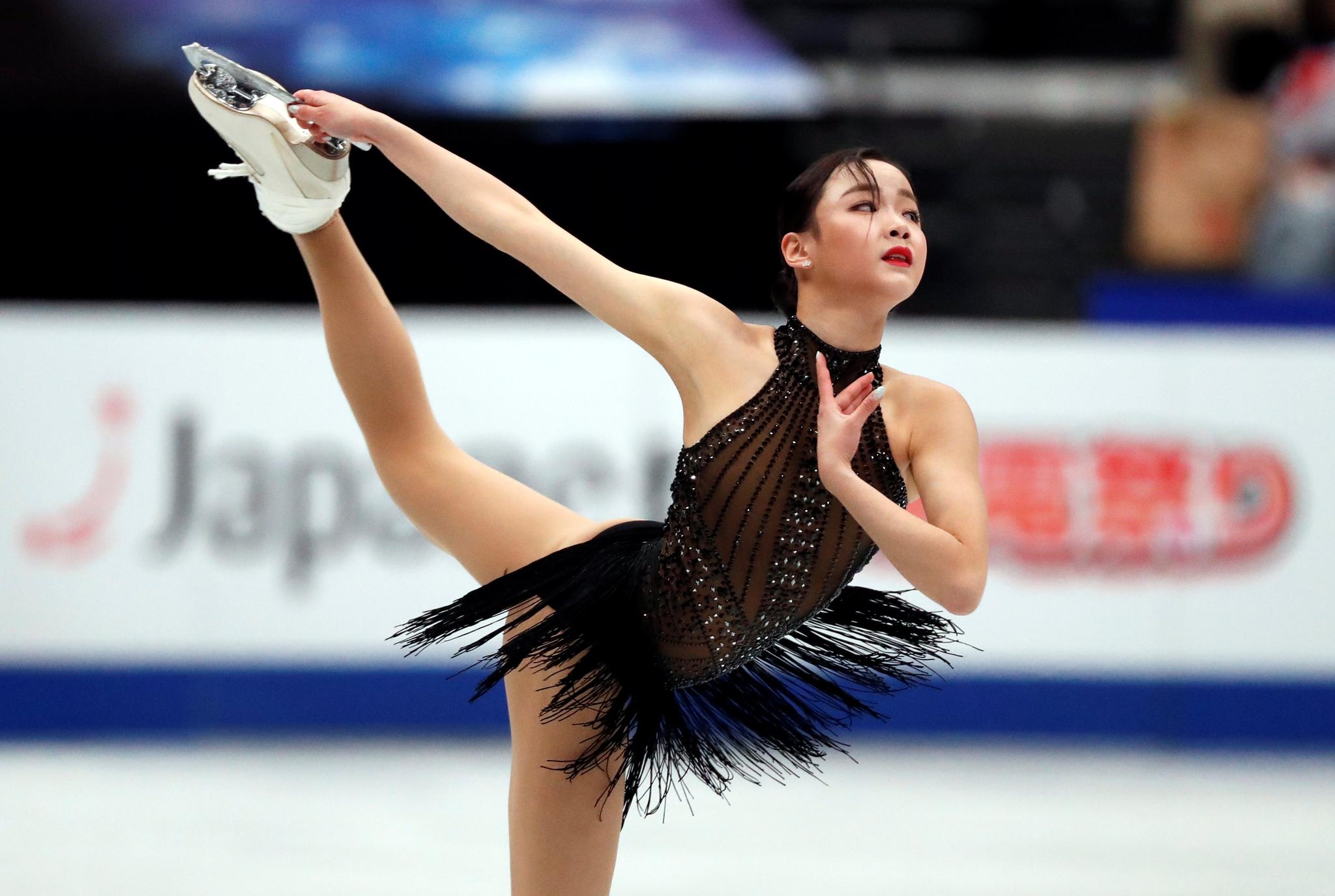 피겨스케이팅 여자 싱글의 임은수(신현고)가 22일(현지시간) 일본 사이타마의 사이타마 슈퍼 아레나에서 열린 2019 국제빙상경기연맹(ISU) 세계선수권대회 여자 싱글 프리스케이팅에서 연기를 펼치고 있다. [로이터=연합뉴스]