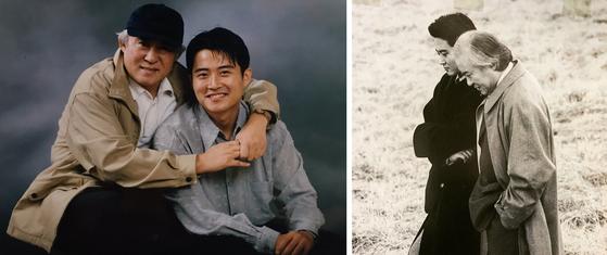 아버지 故임충 작가와 함께(왼쪽). 부자가 출연해 화제가 됐던 양복광고 장면(오른쪽). [사진 임호]