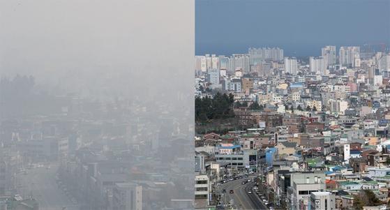 미세먼지가 짙은 3월 4일(왼쪽)과 맑은 7일 강원도 강릉 시내 모습이 선명한 대조를 보인다. [연합뉴스]