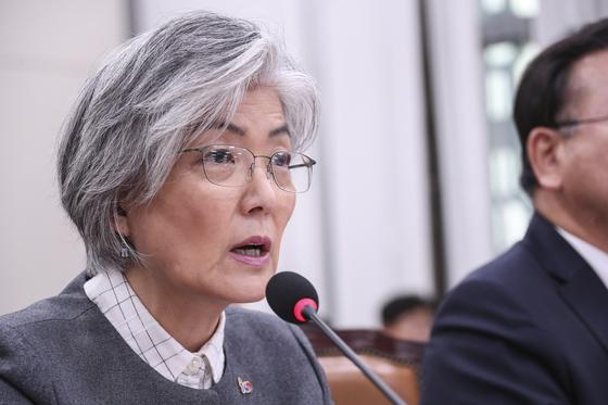 강경화 외교부 장관이 21일 오전 국회에서 열린 남북경제협력특위 전체회의에서 의원들의 질의에 답하고 있다. 임현동 기자