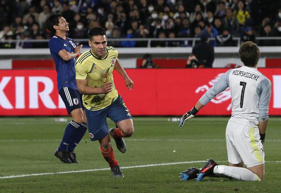 22일 열린 일본과 평가전에서 페널티킥 골을 넣고 기뻐하는 콜롬비아의 라다멜 팔카오. [AP=연합뉴스]