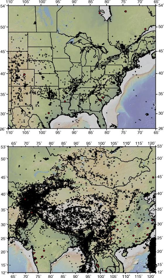 2012년 조백 스탠펀드대 교수 연구진이 미국 중부와 동부, 캐나다 남동부에서 발생한 지진과 피해를 기록한 것.(위) 붉은 점들은 저수지로 인한 지진 발생 지역을 나타낸다. 아래는 남아시아와 동아시아의 지진과 저수지에 의한 지진 발생지를 나타낸 것. [그래픽제공=미국립과학원회보]