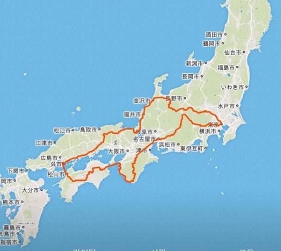 지난해 박종하 씨가 달렸던 '재팬 오디세이' 대회 GPS 궤적. 도쿄를 출발해 다시 도쿄로 돌아오는 2800km 여정을 한 눈에 보여준다. 박 씨는 9일 13시간 30분에 완주해 3등으로 피니시했다. [사진 박종하 인스타그램]