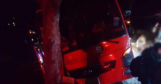23일 새벽 경남 남해군 삼동면 수곡마을 인근 도로에서 관광버스가 가로수를 들이받고 멈춰서 있다. [경남소방본부=연합뉴스]